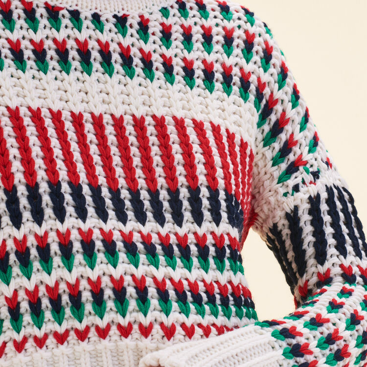 Decorative multi-coloured knit jumper - Sweaters - MAJE