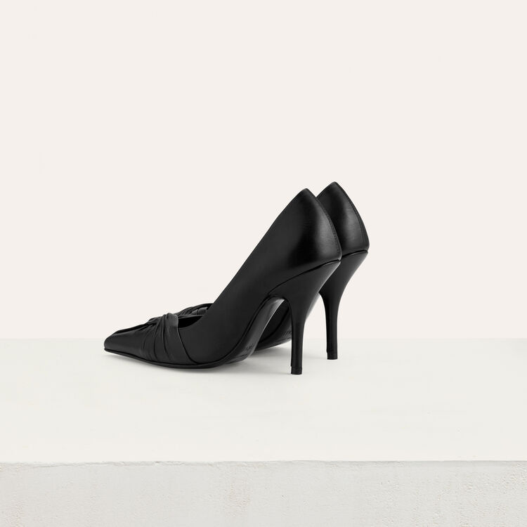 Draped leather pumps : Office Chic color Black 210