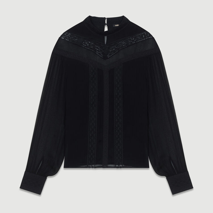Ruffled shirt with embroidery : Tops & Shirts color Black 210