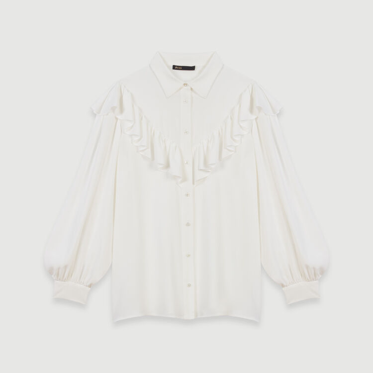 Ruffled shirt : Tops & T-Shirts color White