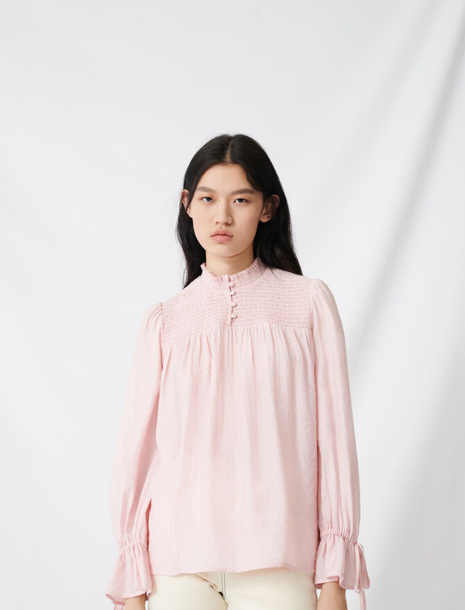 Smocked top with puff sleeves - Tops & T-Shirts - MAJE