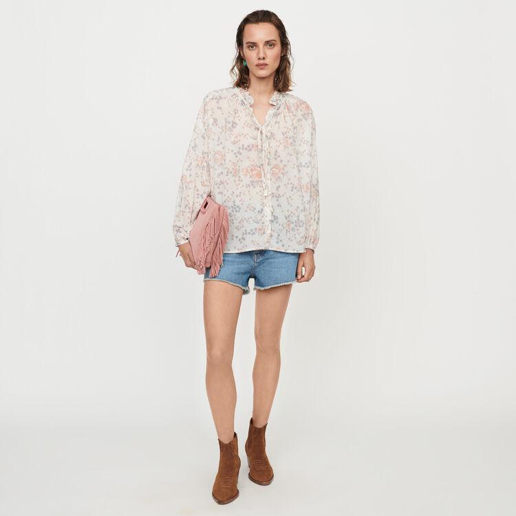 Floral-print cotton voile shirt : Tops & T-Shirts color Pink