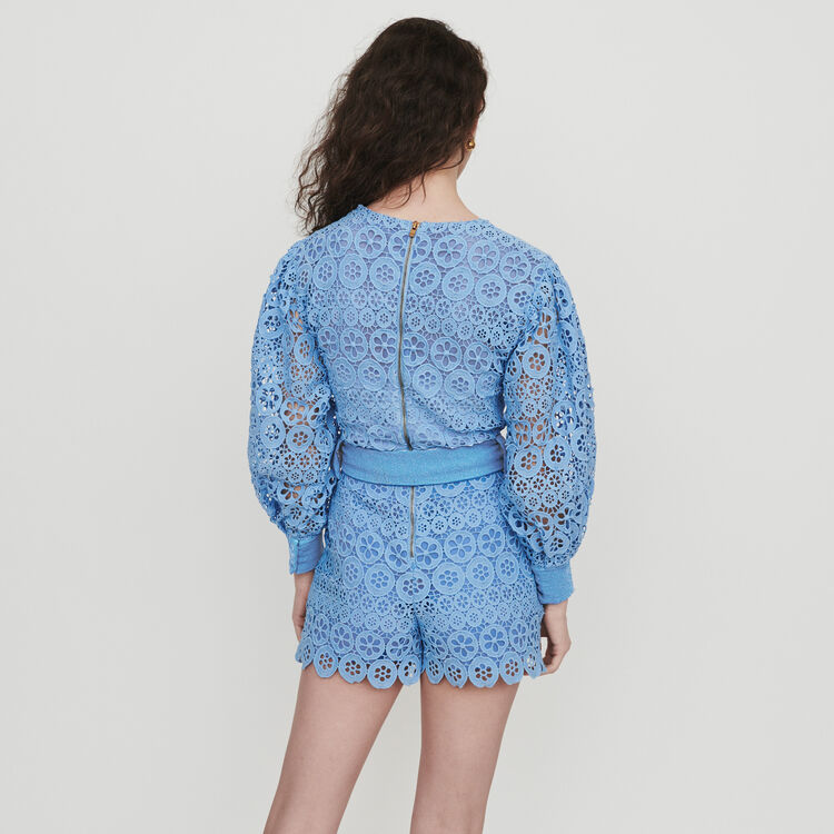 Romper in daisy guipure : Jumpsuits & Rompers color Blue