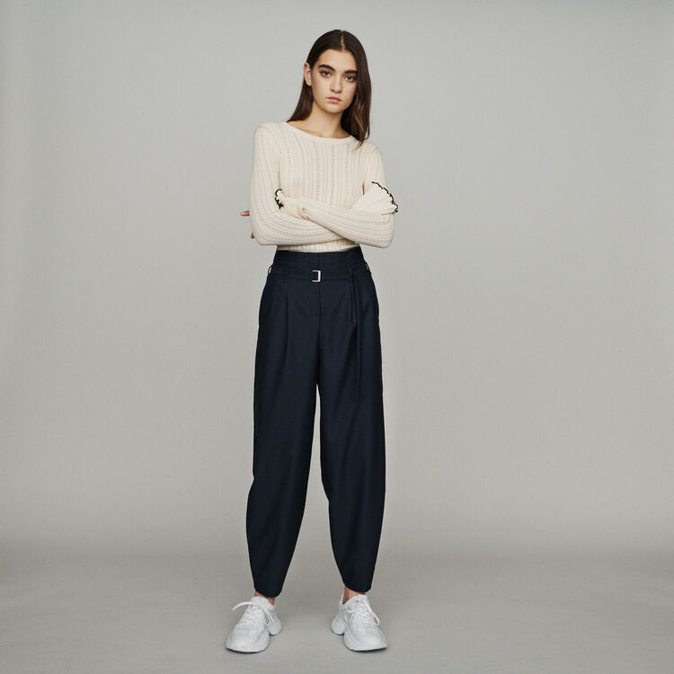 Wide-leg pants with tight ankles : Pants & Jeans color Navy