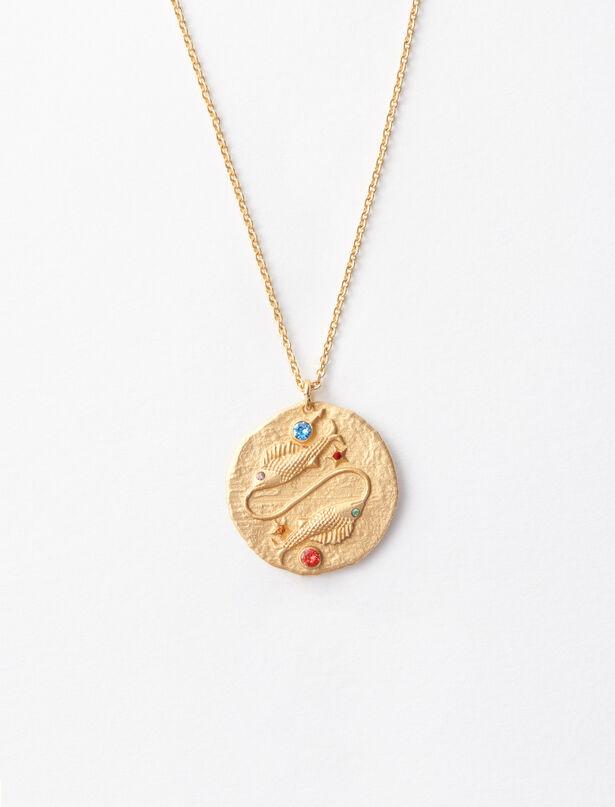 마쥬 MAJE Pisces zodiac sign necklace,Gold