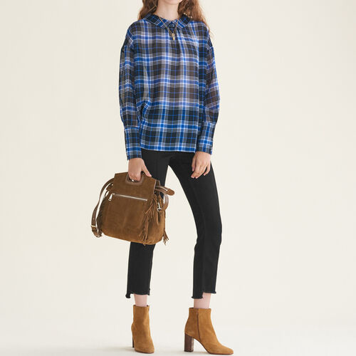 Loose checked top : Tops & T-Shirts color PRINTED