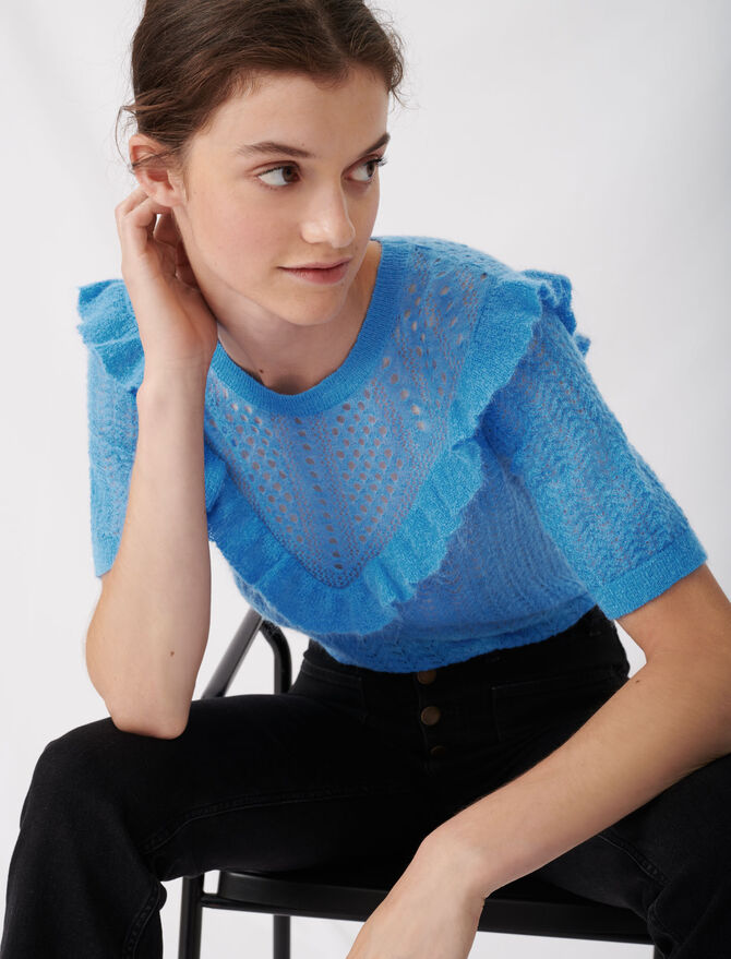 Lace-style knitted sweater with ruffles - Sweaters - MAJE