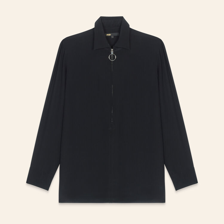 Silk shirt with zip : Tops & T-Shirts color Black 210