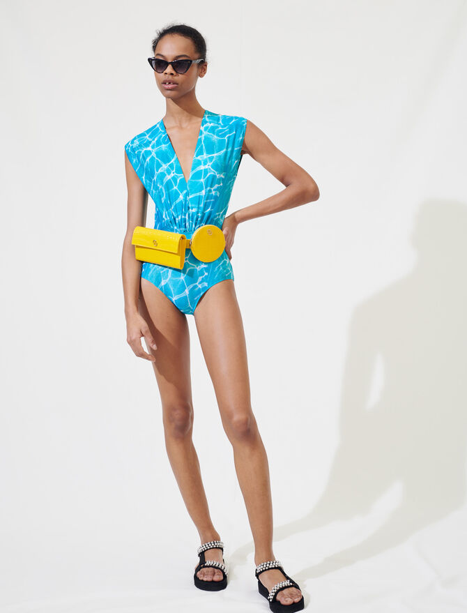 Swimming pool print one-piece swimsuit - T-Shirts - MAJE