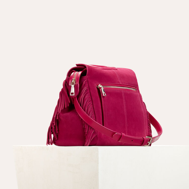 Suede shoulder bag : Shoes & Accessories color Raspberry
