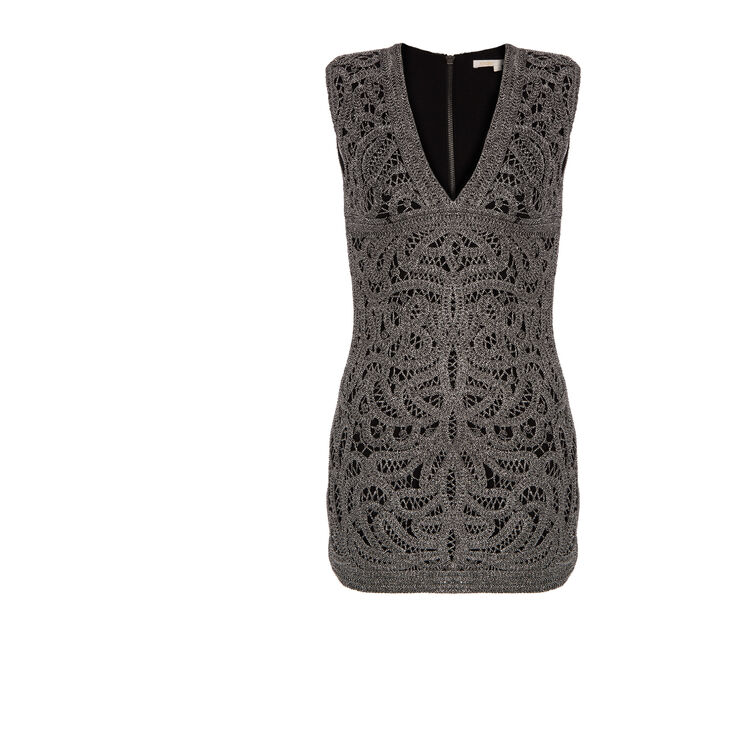 Crocheted and lurex dress : Silver color