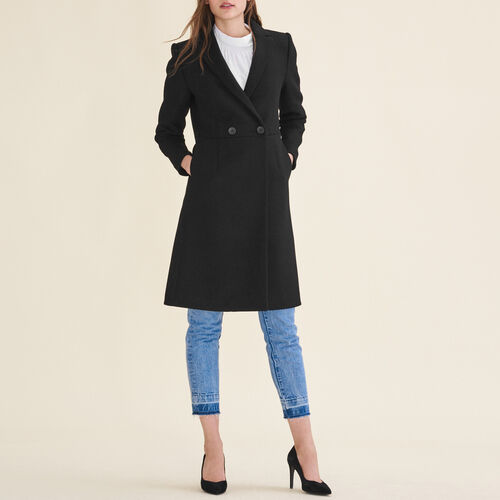 Mid-length wool frock coat : Coats & Jackets color Black 210