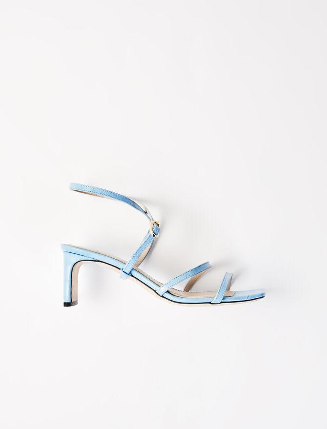 Embossed leather midi-heeled mules - Sandals - MAJE