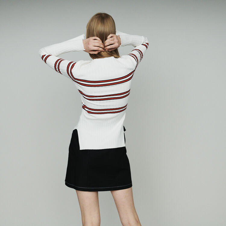 Thin sweater in striped tube knit : Sweaters color Stripe
