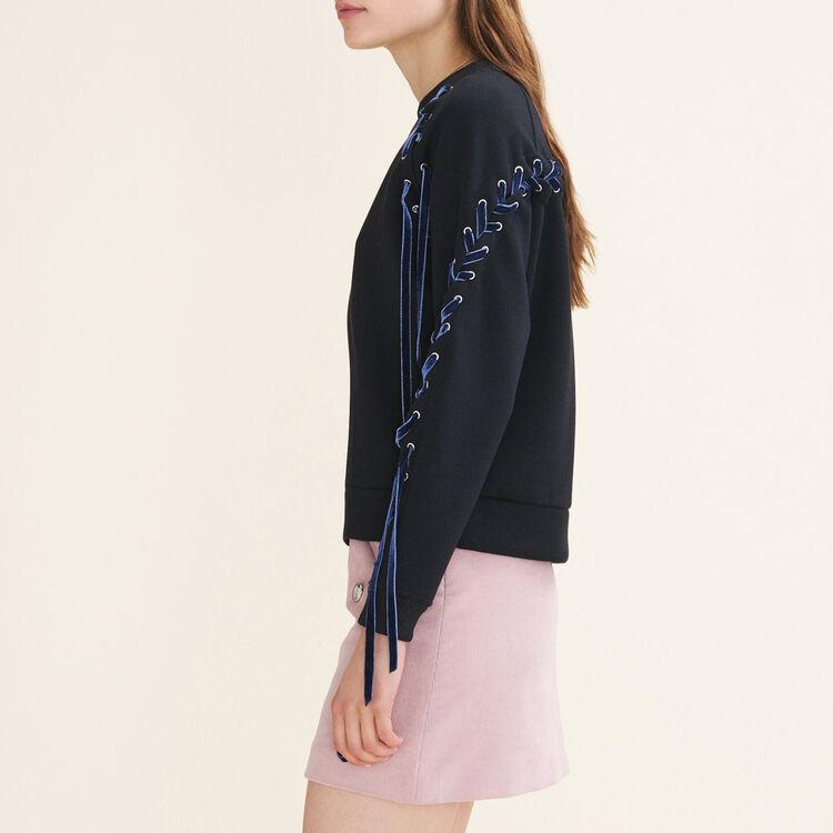 Fleecy sweatshirt with lacing : null color