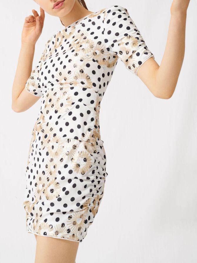 Polka dot and embroidered sequin dress - Dresses - MAJE