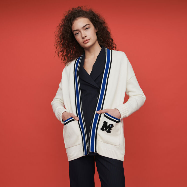 Contrast striped embroidered cardigan : Fall Pre-Collection color Ecru