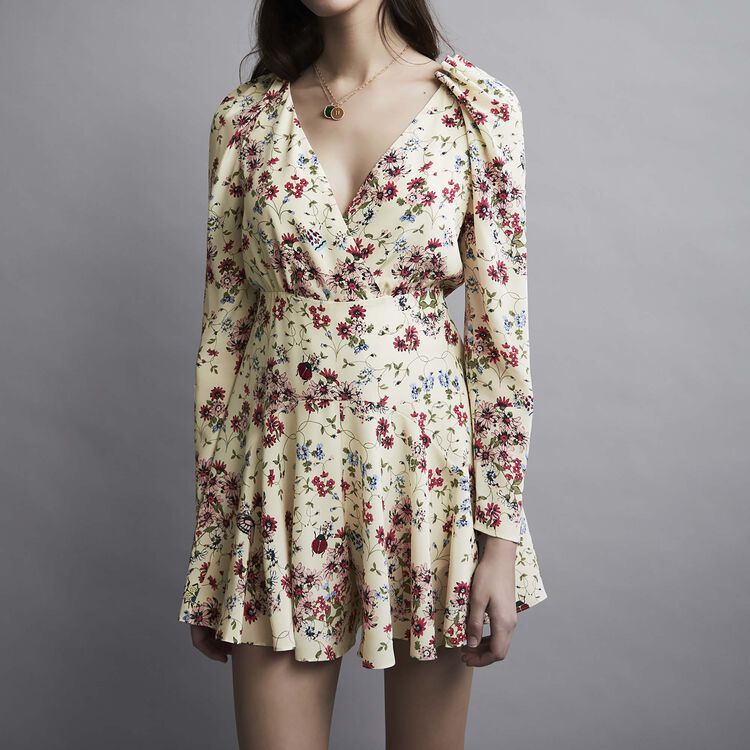 Printed silk romper : Skirts & Shorts color PRINTED