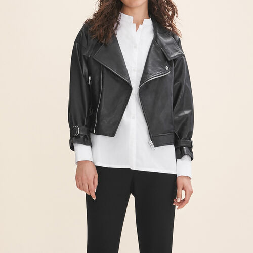 Fitted leather jacket : Coats & Jackets color Black 210