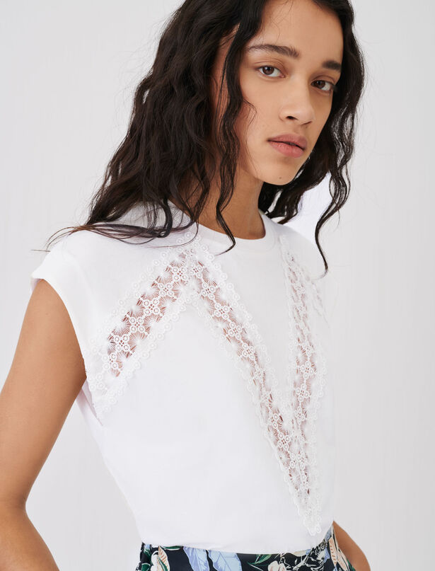 21SS 마쥬 티셔츠 MAJE T-shirt with lace trims,White