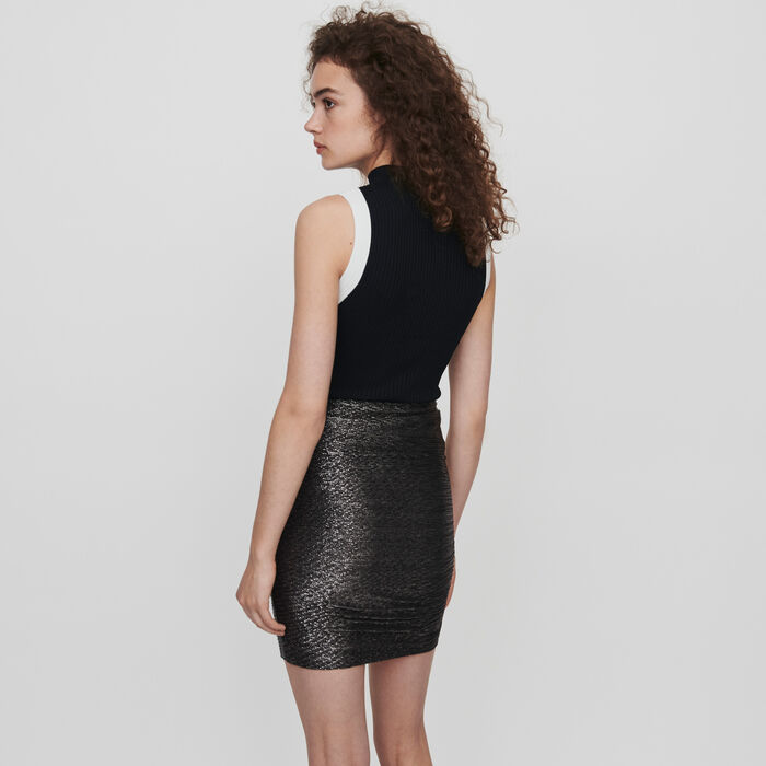 Lurex draped skirt with ruffles : Skirts & Shorts color Silver
