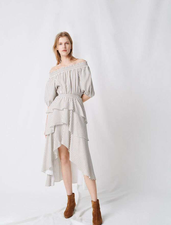 Striped smocked dress with ruffles - Dresses - MAJE