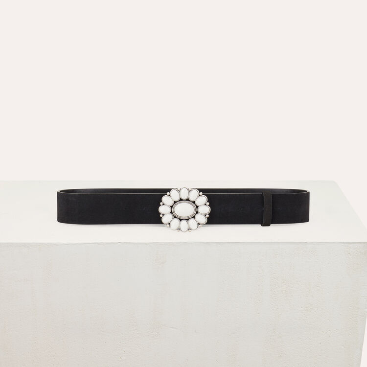Trouser belt with flower buckle : Belts color Black 210