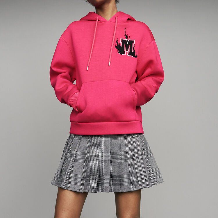 Oversize hooded sweatshirt : Sweaters color Fuschia