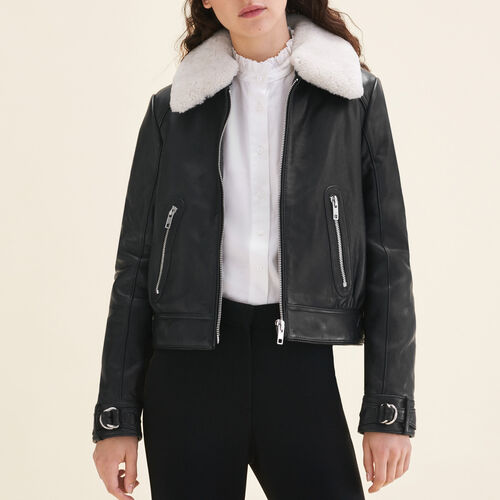 Sheepskin collar aviator jacket : Coats & Jackets color Black 210