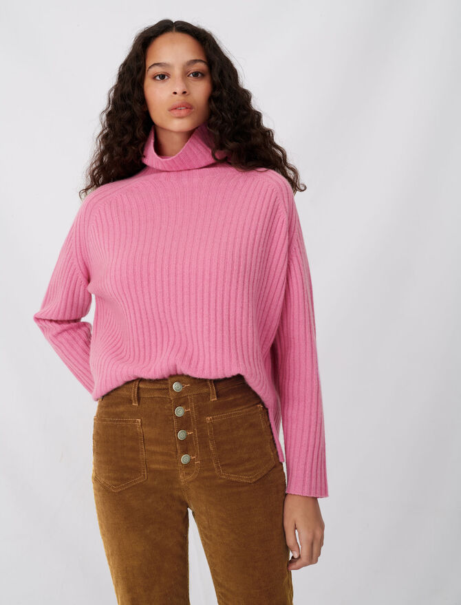 High neck ribbed cashmere sweater - Sweaters - MAJE