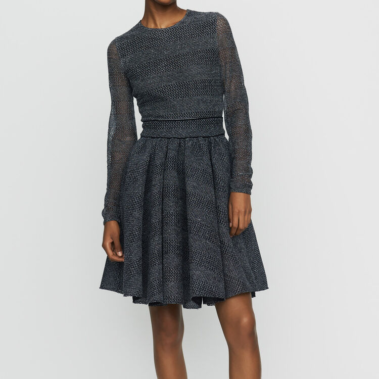 Skater Dress In Basketweave Knit Dresses Color Grey