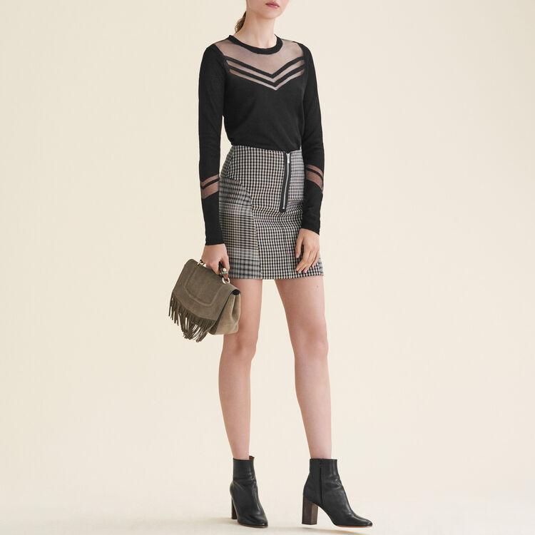 Thin jumper in a mix of materials : Tops & Shirts color Black 210