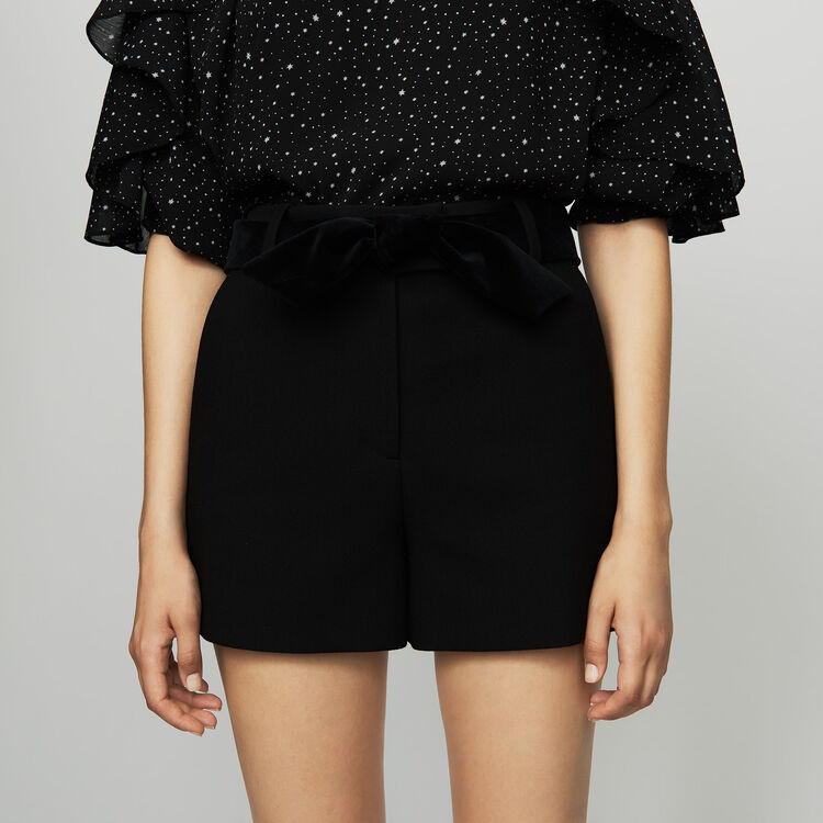 Fancy shorts with satin belt : New Collection color Black 210