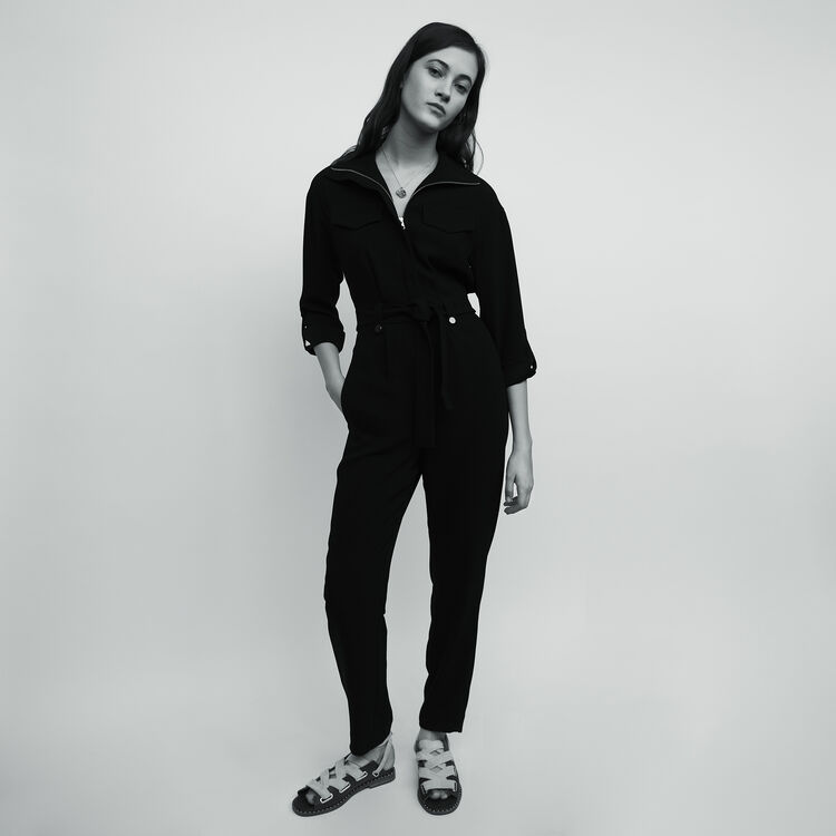 Crepe jumpsuit : Jumpsuits & Rompers color Black