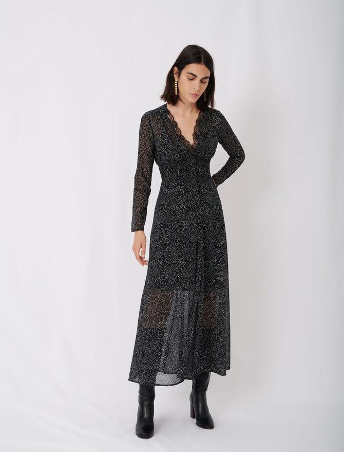 Flocked velvet polka dot jacquard dress - Dresses - MAJE
