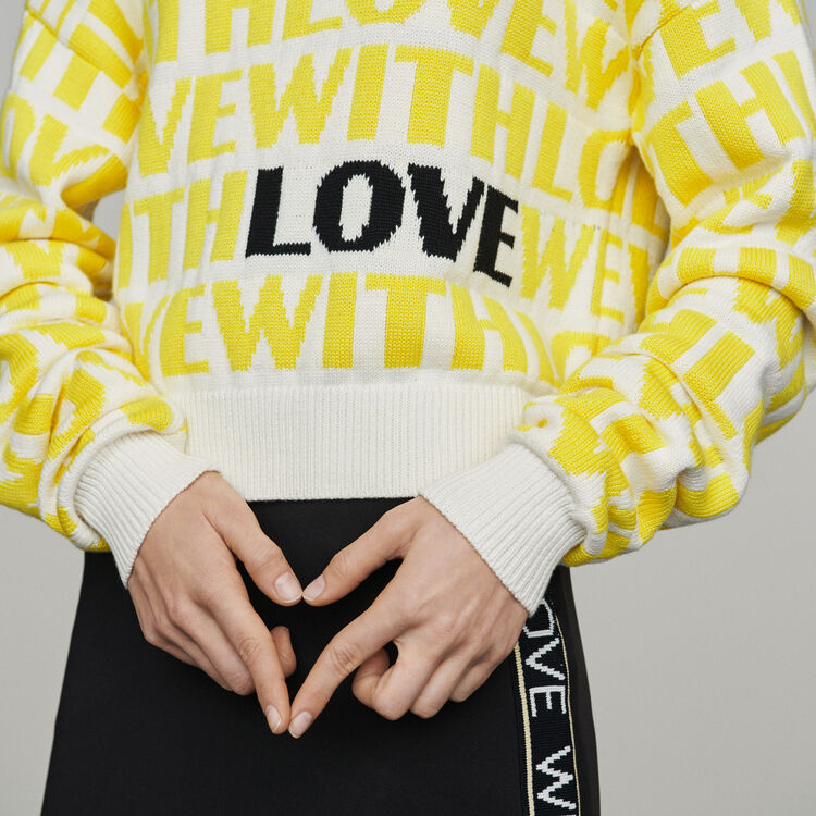 Jacquard sweater with slogan : Sweaters color Yellow