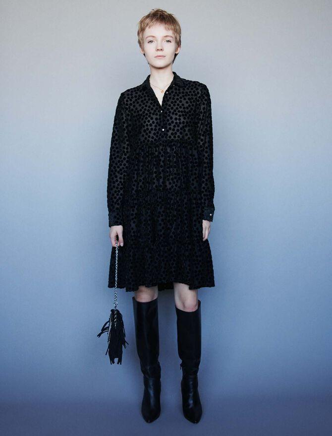 Devore velvet babydoll-style dress - Dresses - MAJE