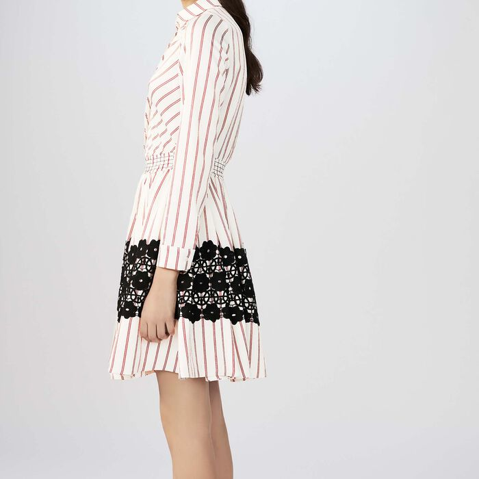 a0723d31b7f49 Shoptagr | Striped Shirt Dress With Guipure Lace by Maje