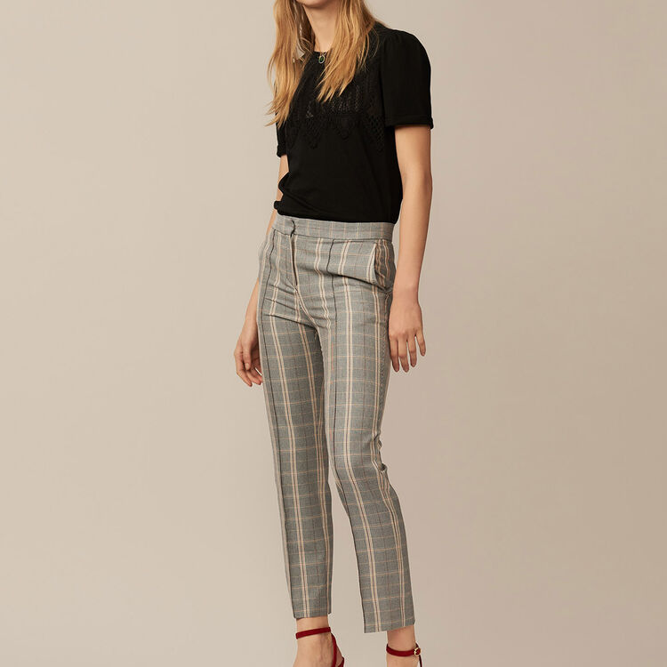 Straight checkered pants : Pants & Jeans color CARREAUX