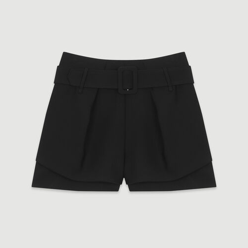 Front-pleated trompe-l'œil shorts : New in: Spring Collection color Black 210