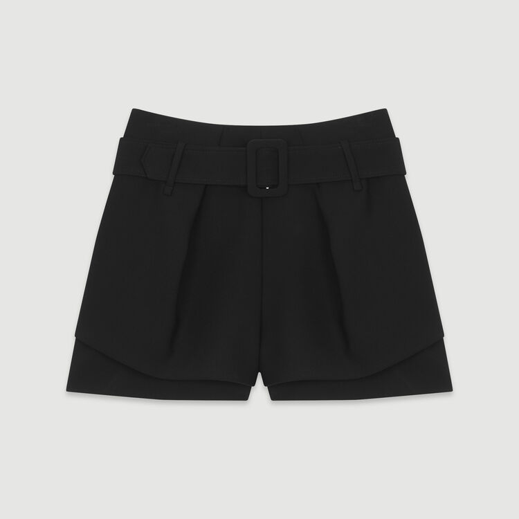 Front-pleated layered shorts : Skirts & Shorts color Black