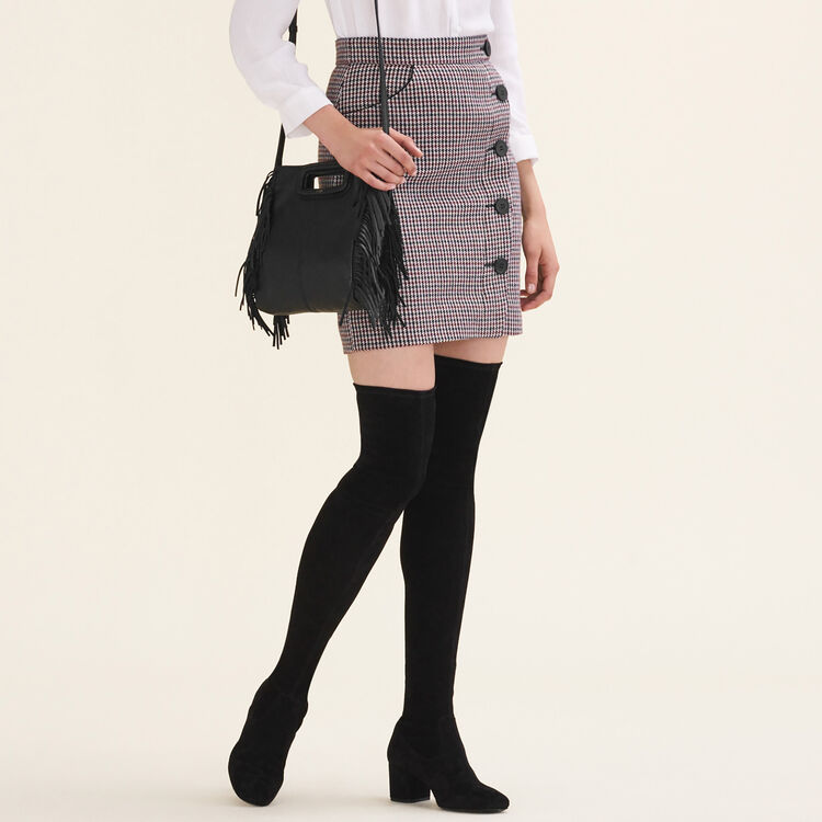 Houndstooth check short skirt : null color