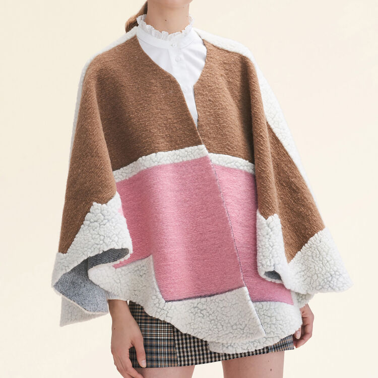 Multicoloured poncho : Scarves color Pink