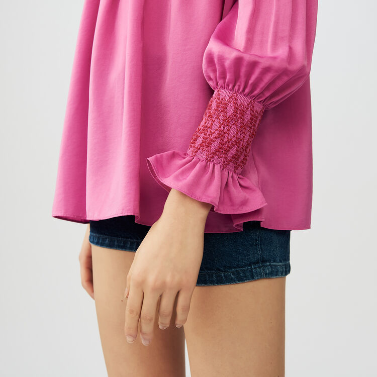 Smocked cold shoulder top : Tops & T-Shirts color Fuschia