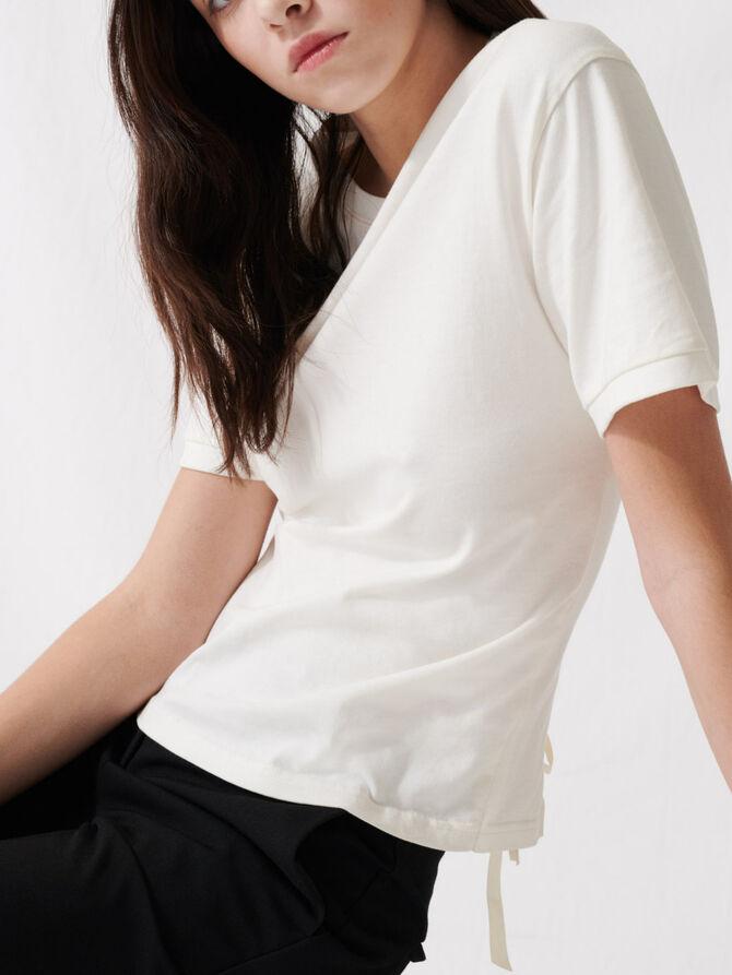 Ecru T-Shirt with lacing at the back - T-Shirts - MAJE