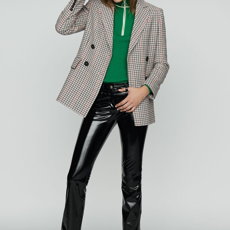 Plaid wool-blend blazer : Coats & Jackets color CARREAUX