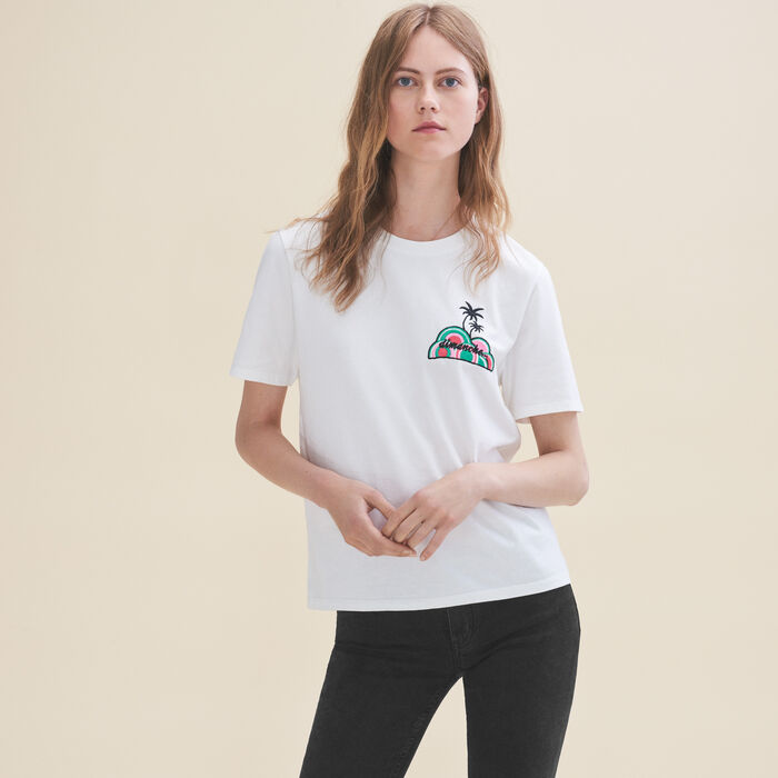 Embroidered T-shirt Sunday : Tops & Shirts color White