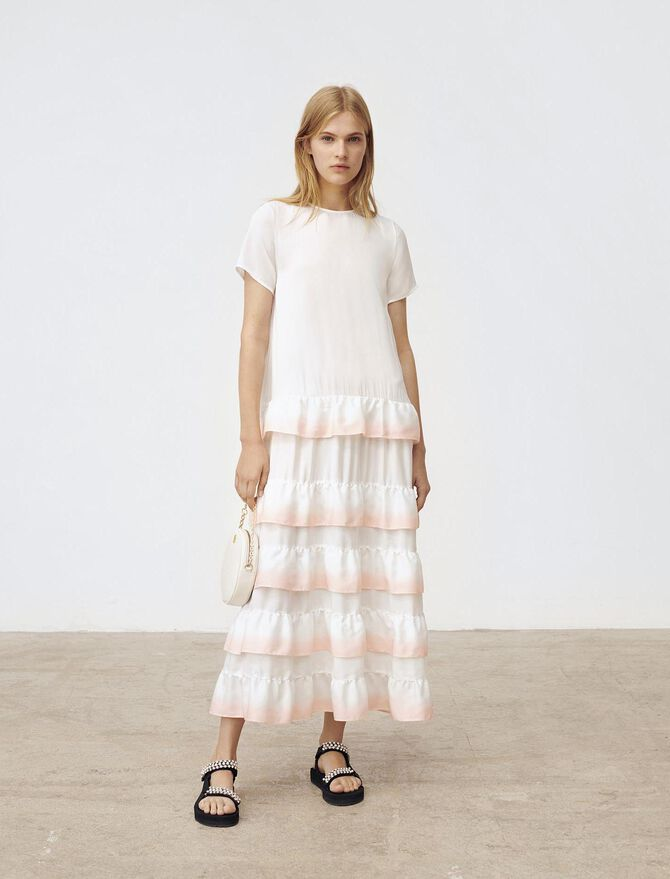 Gradated ombre style ruffled dress - Floral Prints - MAJE