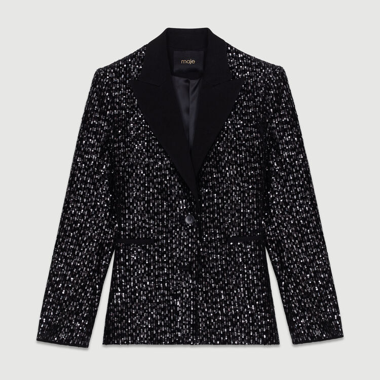 Tuxedo jacket with sequins : Coats & Jackets color Black 210