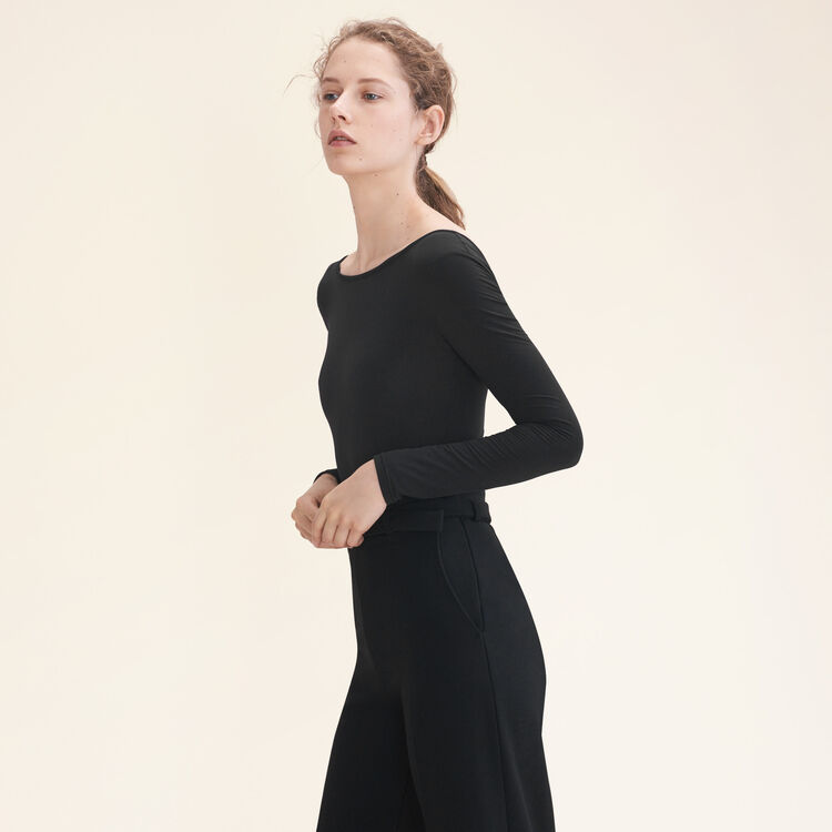 Long-sleeved jersey body : Tops & T-Shirts color Black 210